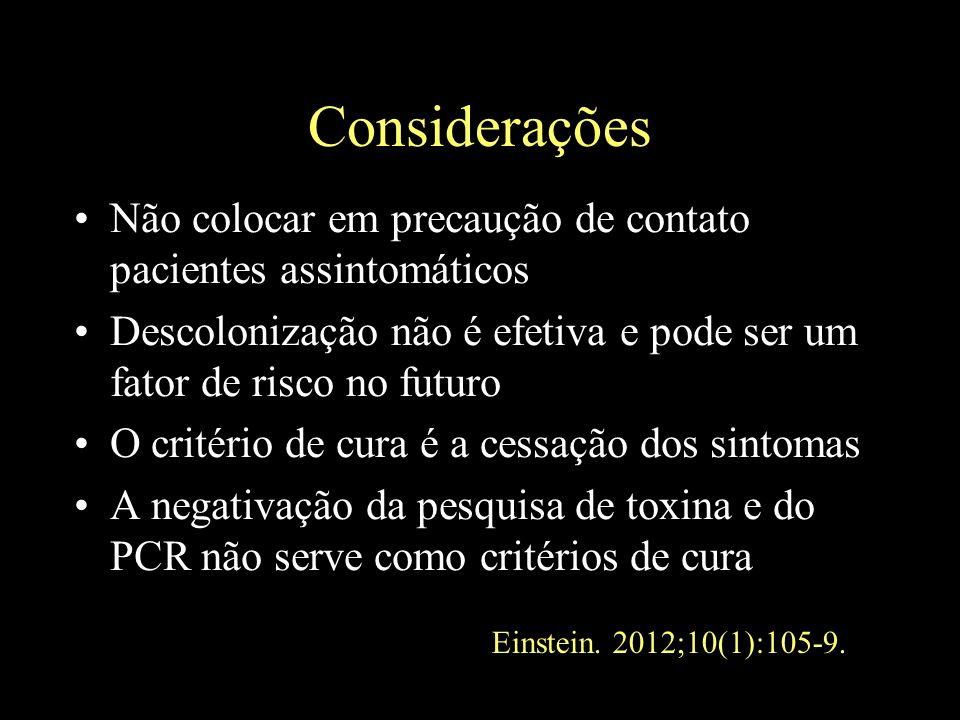 Considerações Não colocar em precaução de contato pacientes assintomáticos. Descolonização não é efetiva e pode ser um fator de risco no futuro.