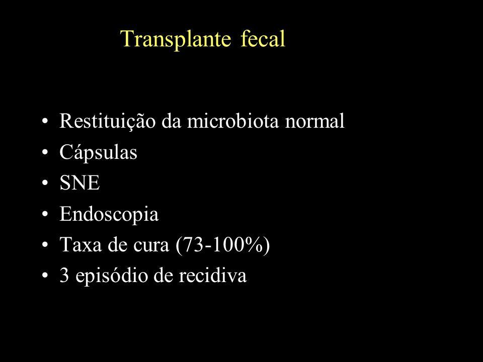 Transplante fecal Restituição da microbiota normal Cápsulas SNE