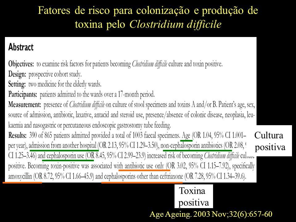 Fatores de risco para colonização e produção de toxina pelo Clostridium difficile