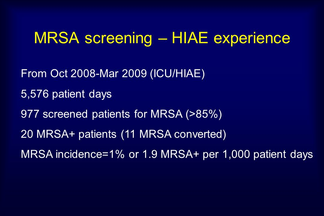 MRSA screening – HIAE experience