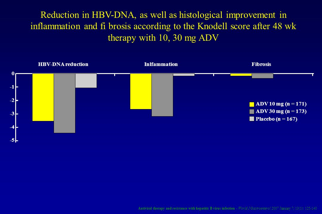 Reduction in HBV-DNA, as well as histological improvement in inflammation and fi brosis according to the Knodell score after 48 wk therapy with 10, 30 mg ADV