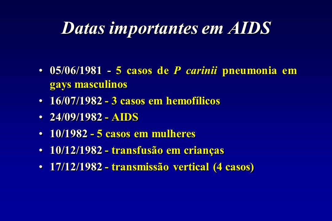 Datas importantes em AIDS