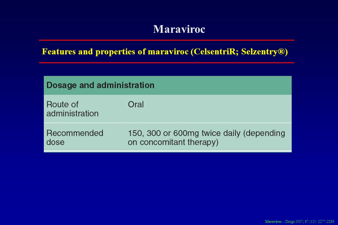 Maraviroc Features and properties of maraviroc (CelsentriR; Selzentry®) Maraviroc - Drugs 2007; 67 (15):