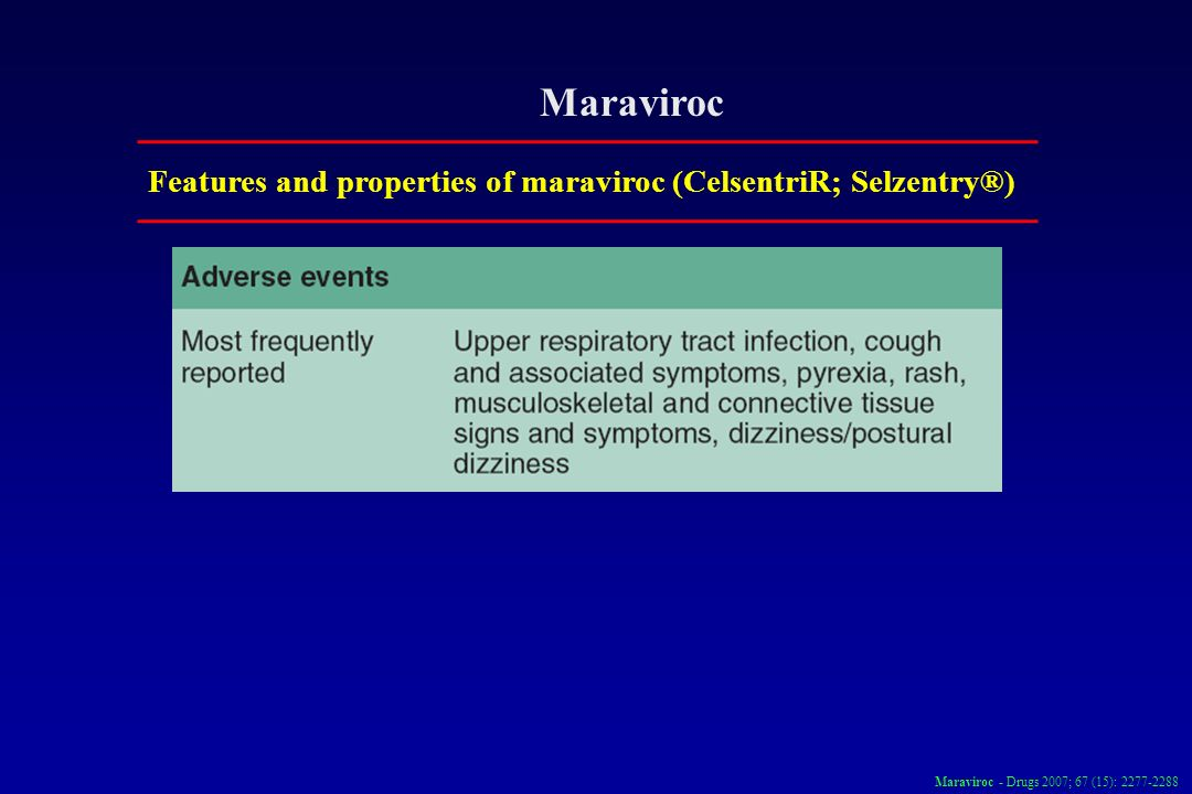 MaravirocFeatures and properties of maraviroc (CelsentriR; Selzentry®) Maraviroc - Drugs 2007; 67 (15): 2277-2288.