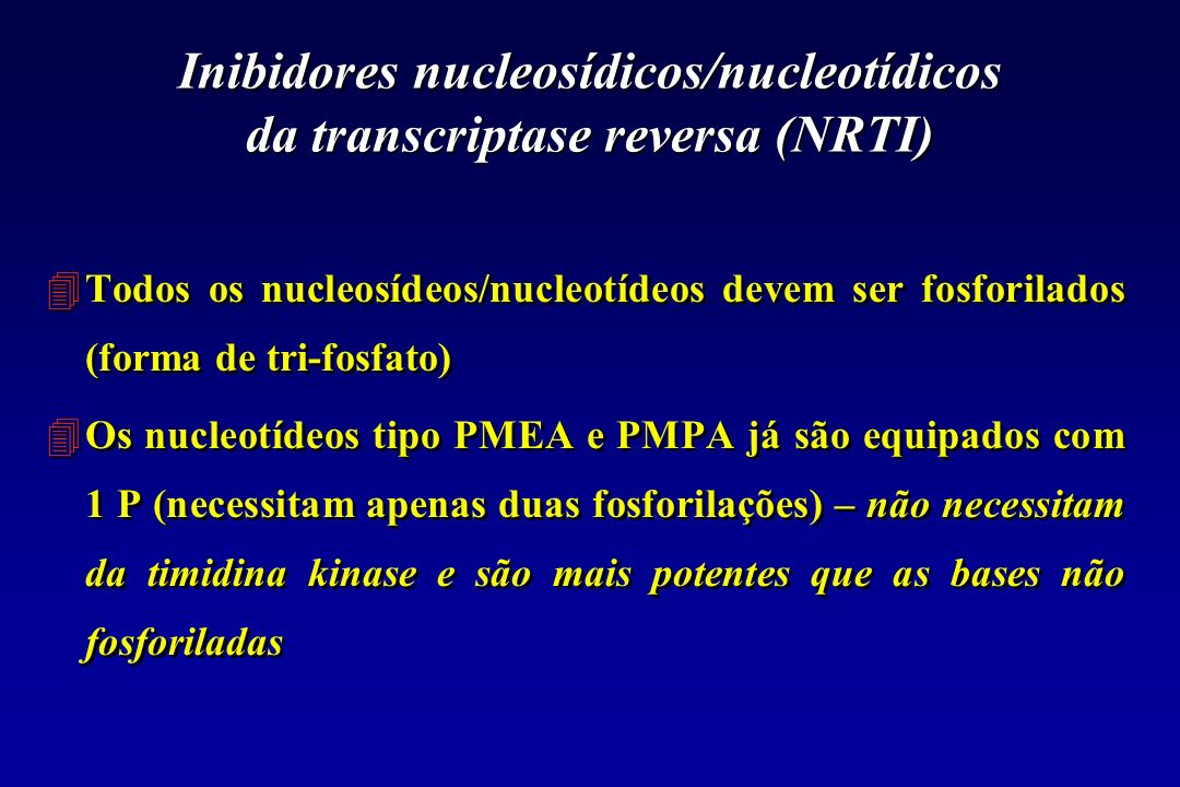 Inibidores nucleosídicos/nucleotídicos da transcriptase reversa (NRTI)