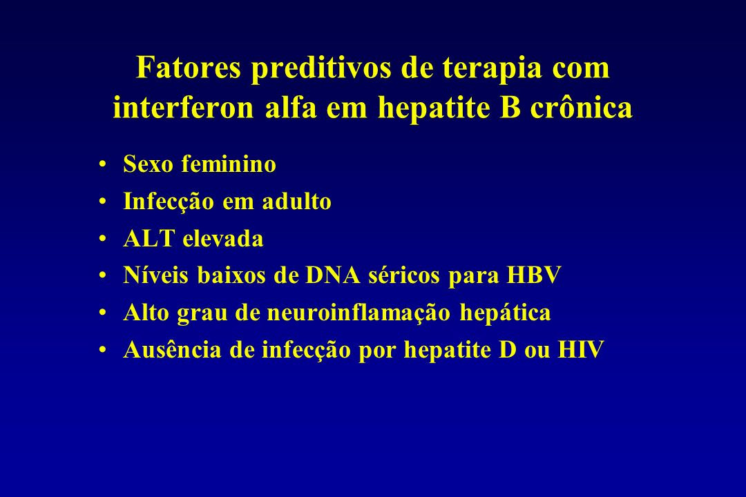 Fatores preditivos de terapia com interferon alfa em hepatite B crônica