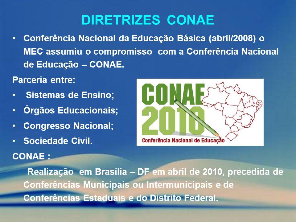 Diretrizes conae Conferência Nacional da Educação Básica (abril/2008) o MEC assumiu o compromisso com a Conferência Nacional de Educação – CONAE.