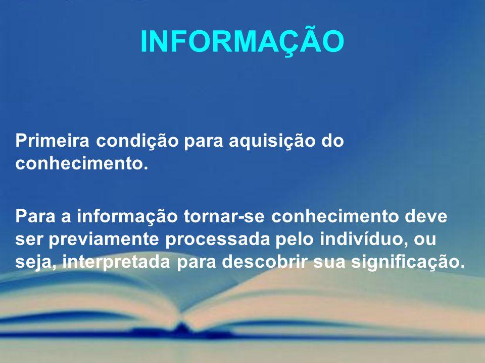 INFORMAÇÃO Primeira condição para aquisição do conhecimento.