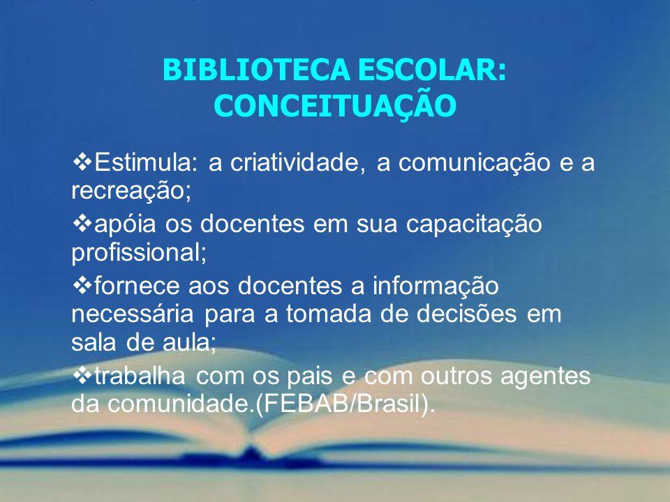 BIBLIOTECA ESCOLAR: CONCEITUAÇÃO