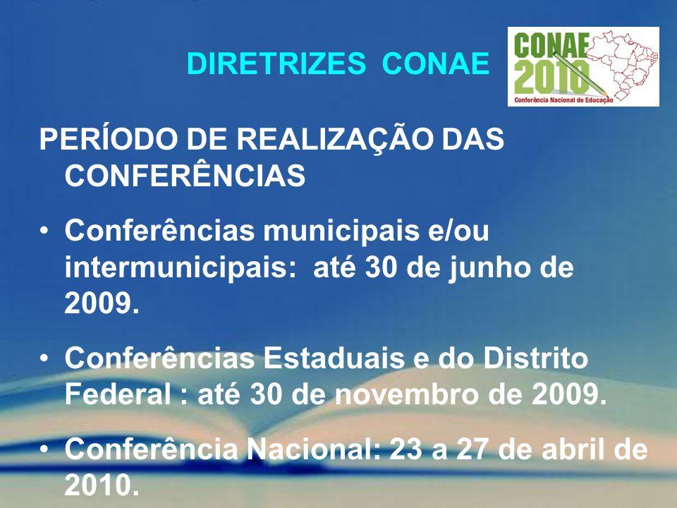 Diretrizes conae PERÍODO DE REALIZAÇÃO DAS CONFERÊNCIAS. Conferências municipais e/ou intermunicipais: até 30 de junho de 2009.