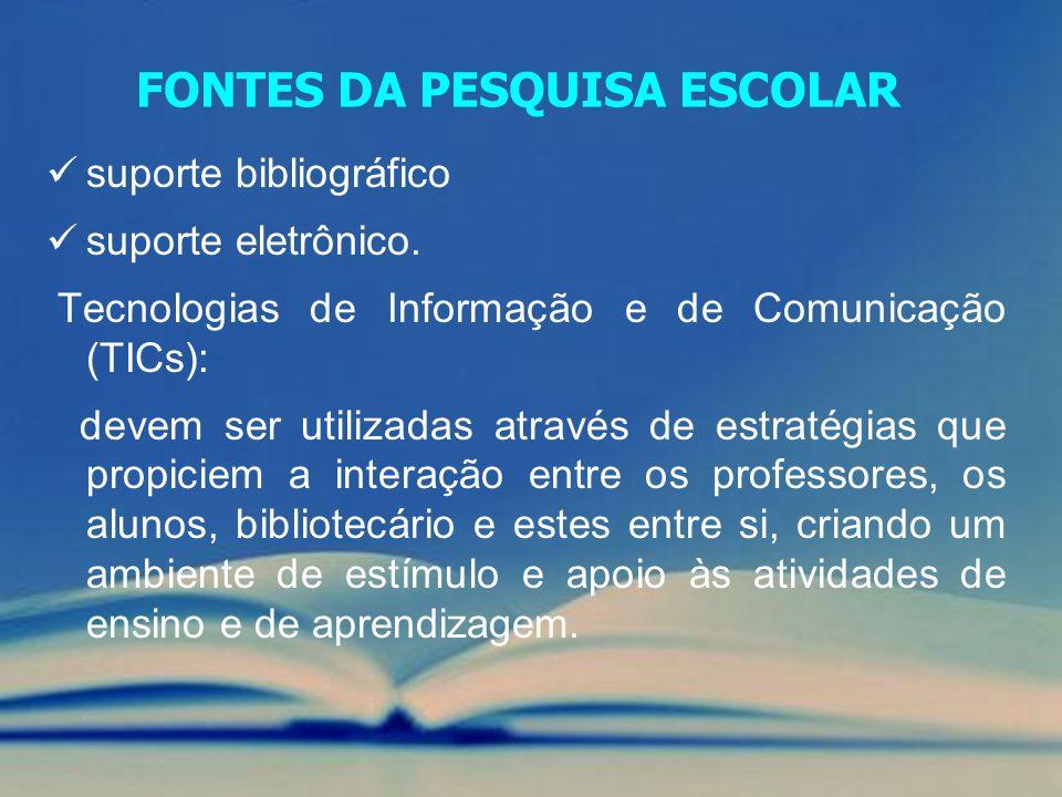 FONTES DA PESQUISA ESCOLAR