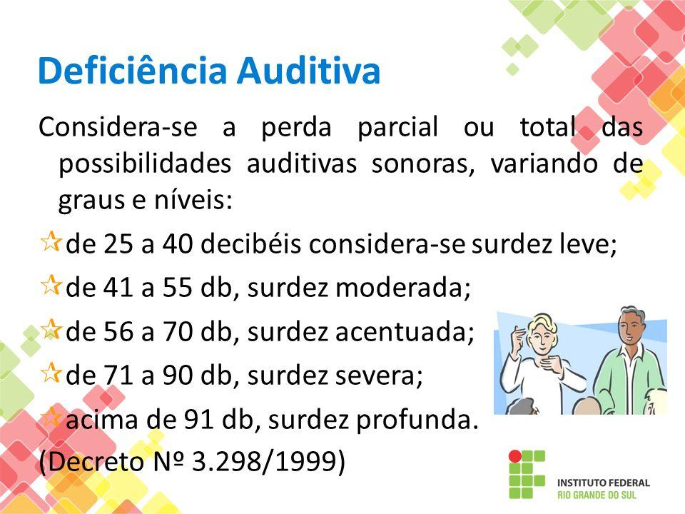 Deficiência AuditivaConsidera-se a perda parcial ou total das possibilidades auditivas sonoras, variando de graus e níveis: