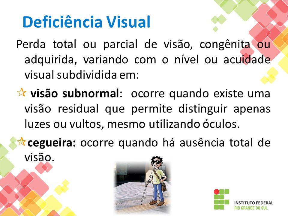 Deficiência Visual Perda total ou parcial de visão, congênita ou adquirida, variando com o nível ou acuidade visual subdividida em: