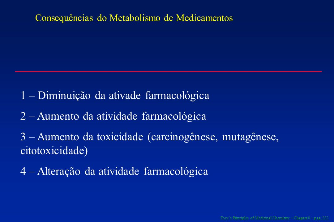 1 – Diminuição da ativade farmacológica