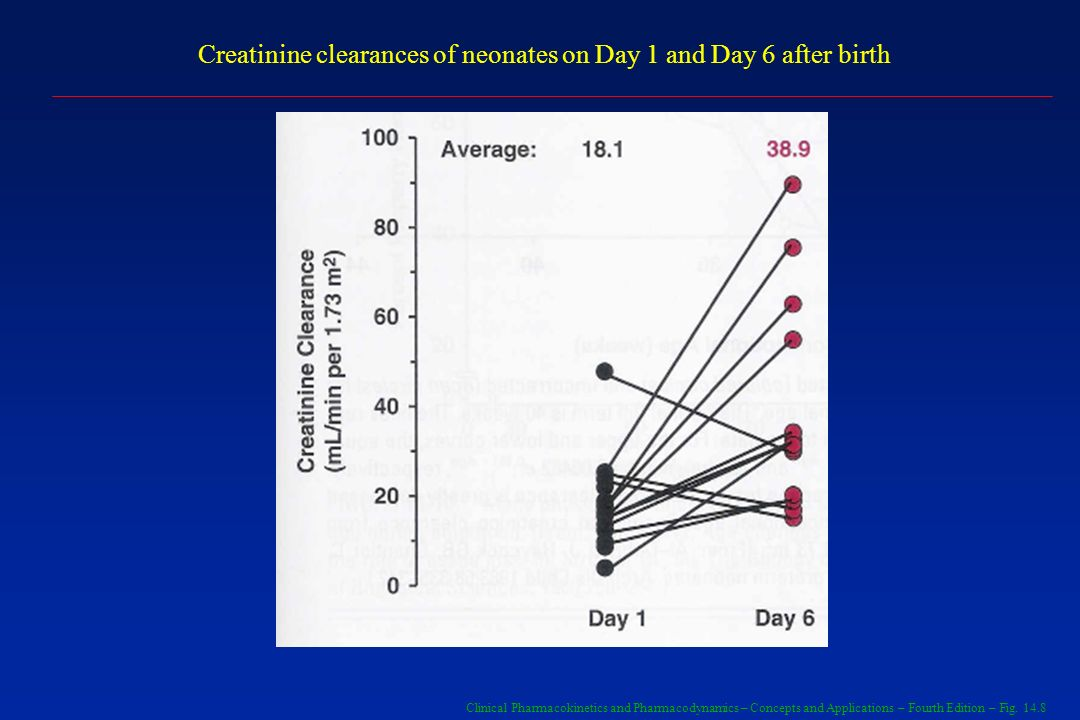 Creatinine clearances of neonates on Day 1 and Day 6 after birth