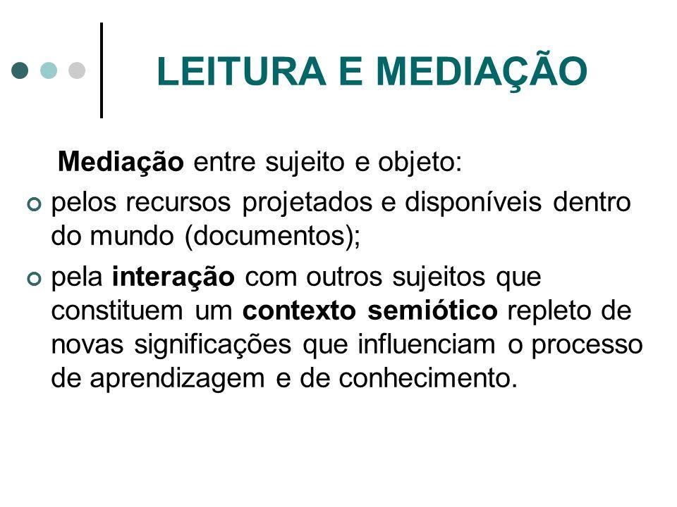 LEITURA E MEDIAÇÃO Mediação entre sujeito e objeto: