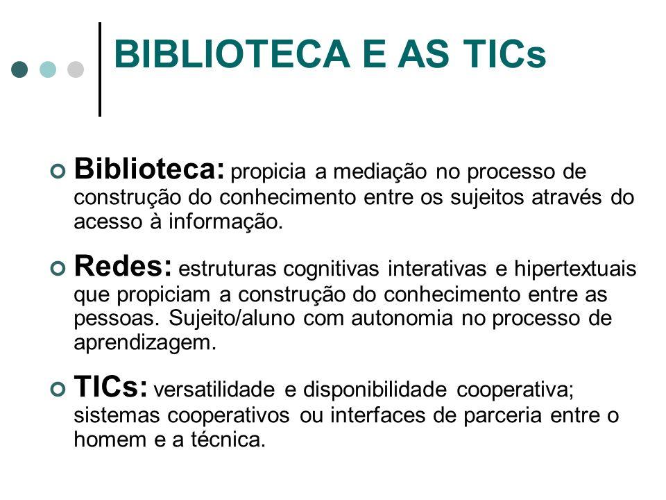 BIBLIOTECA E AS TICs Biblioteca: propicia a mediação no processo de construção do conhecimento entre os sujeitos através do acesso à informação.