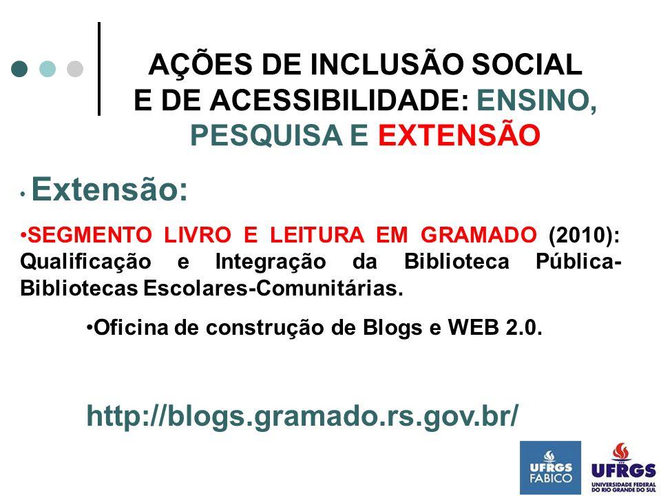 AÇÕES DE INCLUSÃO SOCIAL E DE ACESSIBILIDADE: ENSINO, PESQUISA E EXTENSÃO
