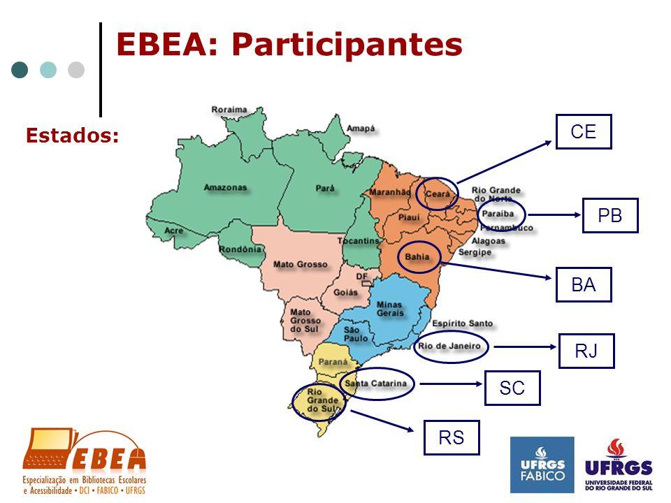 EBEA: Participantes CE Estados: PB BA RJ SC RS