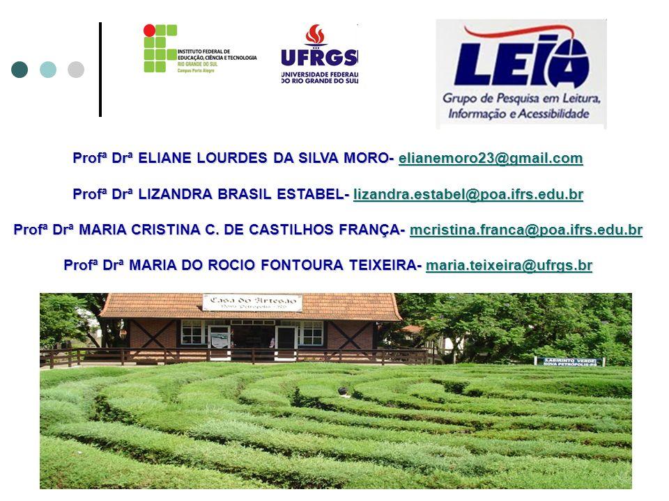 Profª Drª ELIANE LOURDES DA SILVA MORO- elianemoro23@gmail.com