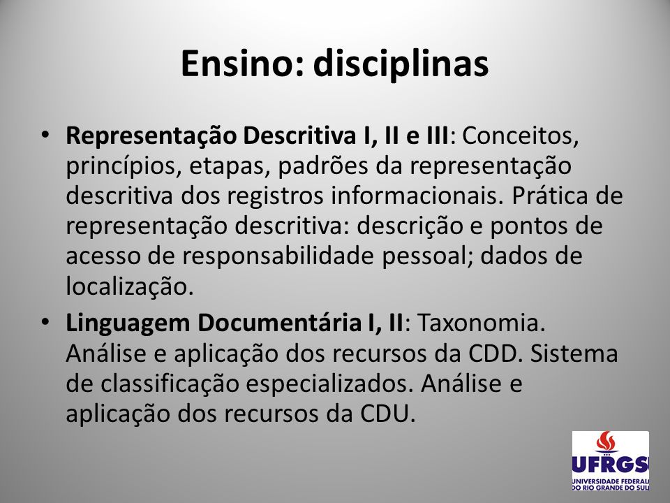 Ensino: disciplinas