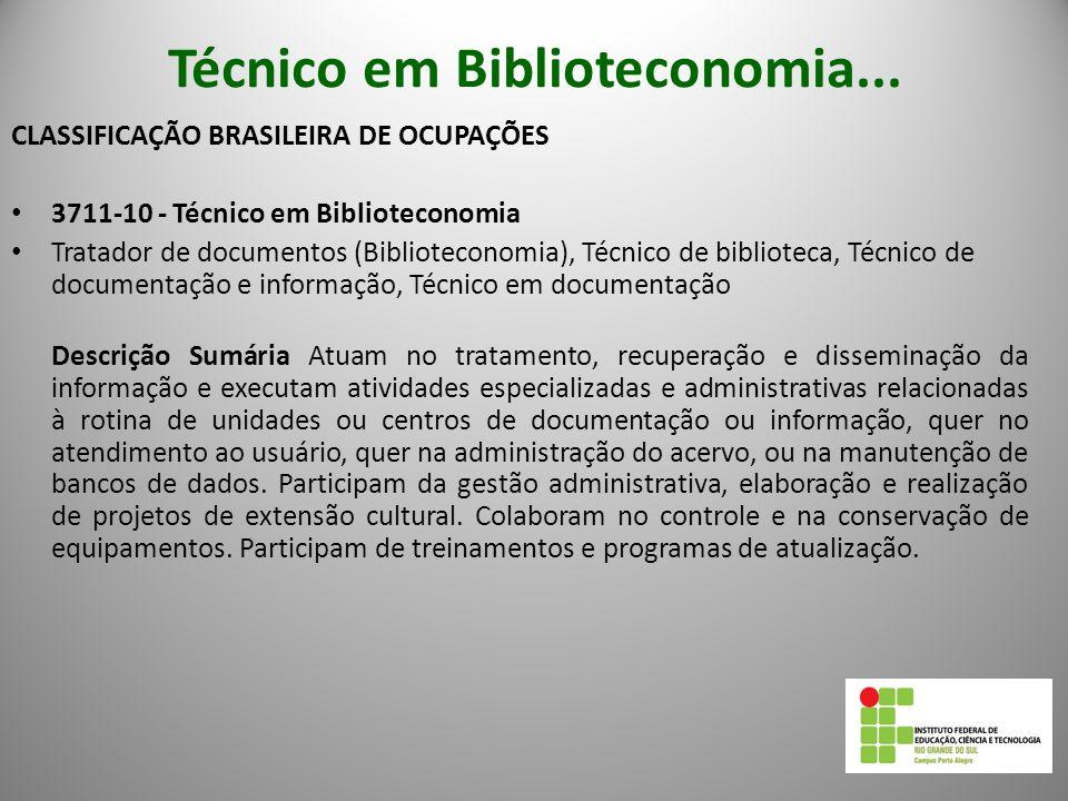 Técnico em Biblioteconomia...