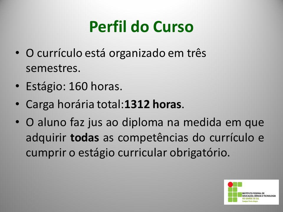 Perfil do Curso O currículo está organizado em três semestres.