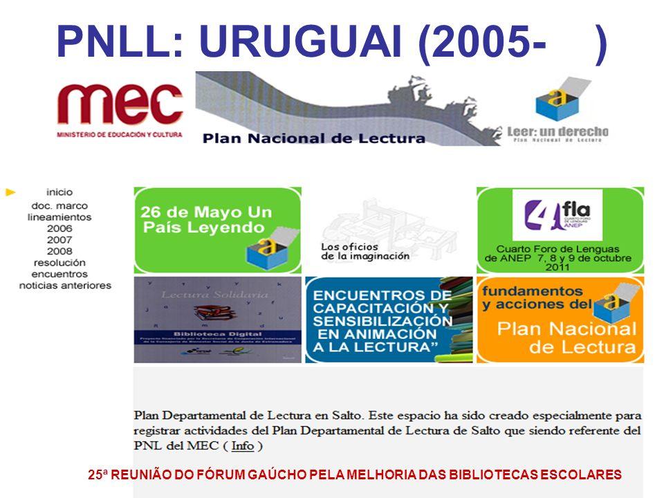 PNLL: URUGUAI (2005- ) 25ª REUNIÃO DO FÓRUM GAÚCHO PELA MELHORIA DAS BIBLIOTECAS ESCOLARES