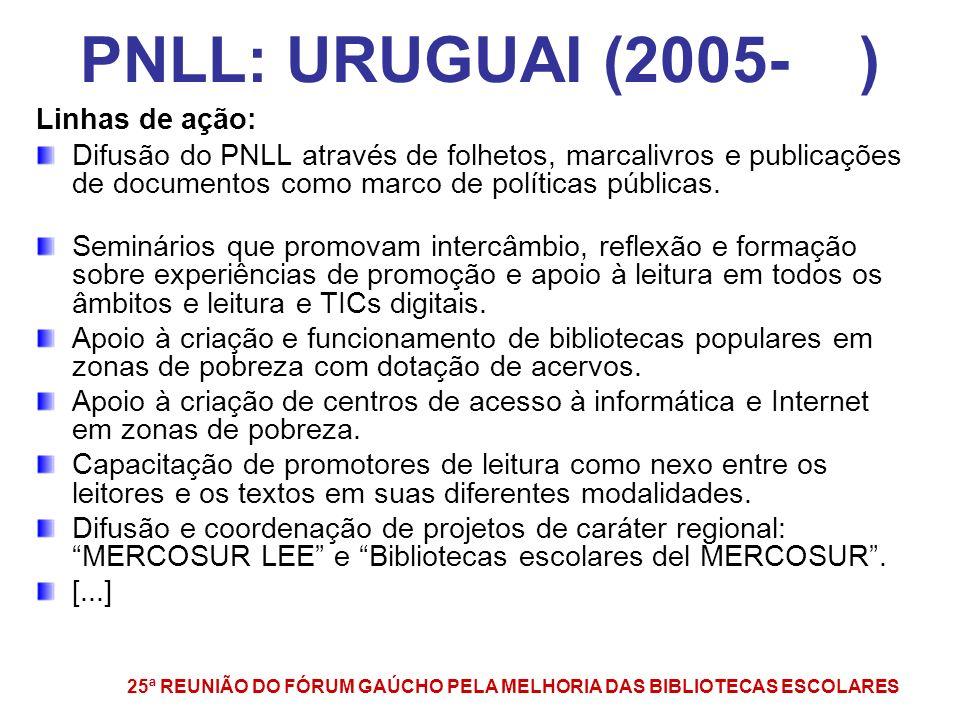 PNLL: URUGUAI (2005- ) Linhas de ação: