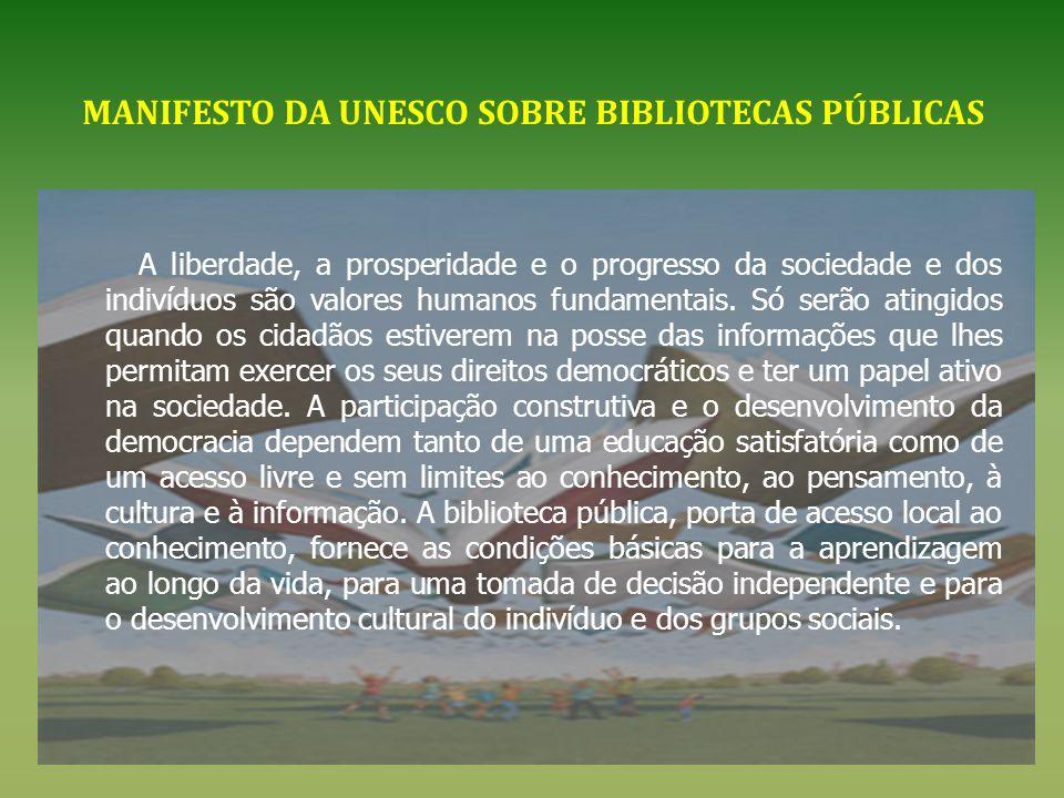 MANIFESTO DA UNESCO SOBRE BIBLIOTECAS PÚBLICAS