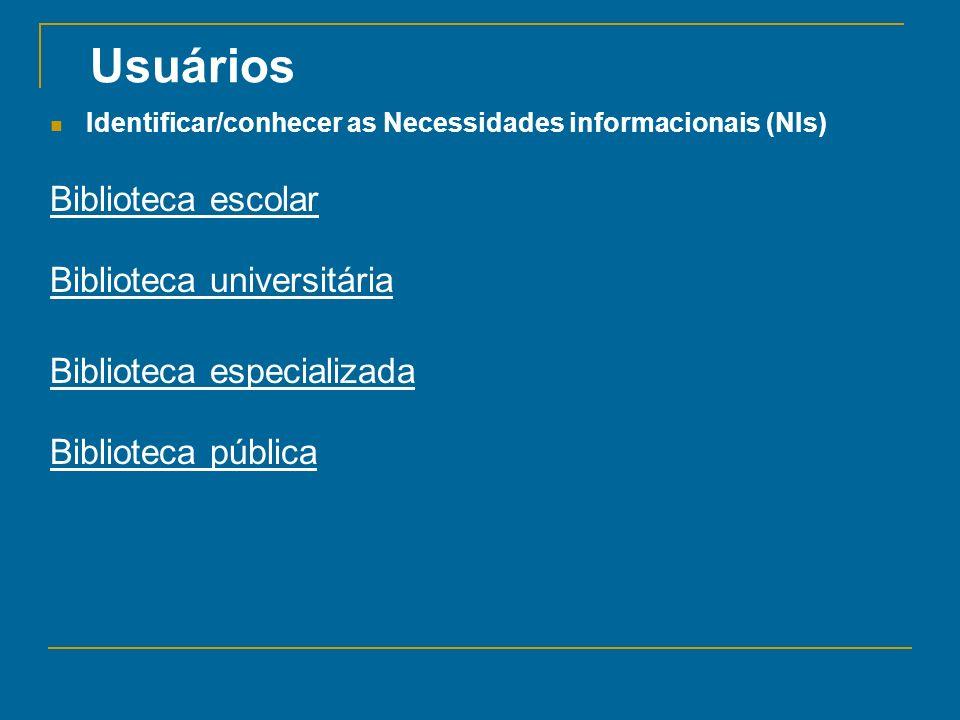 Usuários Biblioteca escolar Biblioteca universitária