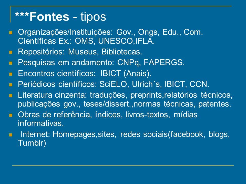 ***Fontes - tipos Organizações/Instituições: Gov., Ongs, Edu., Com. Científicas Ex.: OMS, UNESCO,IFLA.