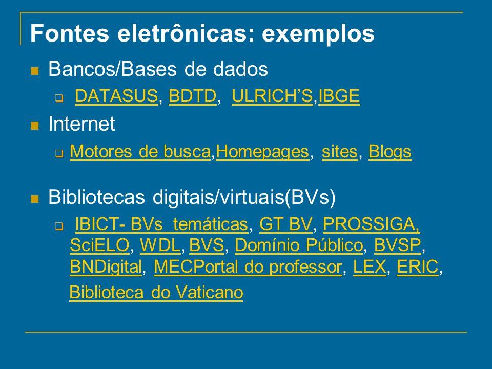 Fontes eletrônicas: exemplos