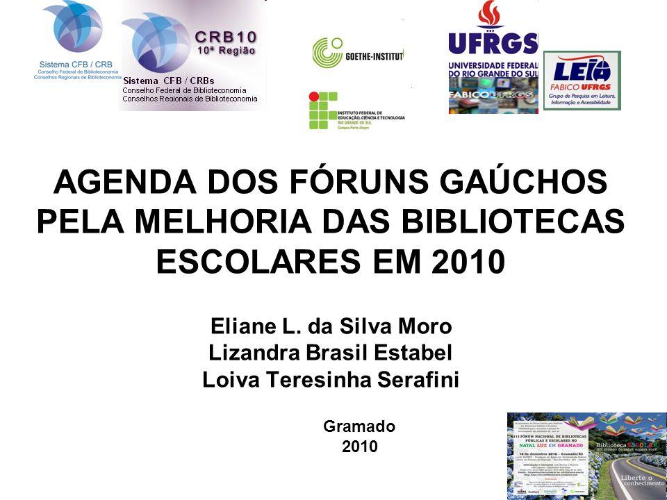 AGENDA DOS FÓRUNS GAÚCHOS PELA MELHORIA DAS BIBLIOTECAS ESCOLARES EM 2010 Eliane L. da Silva Moro Lizandra Brasil Estabel Loiva Teresinha Serafini