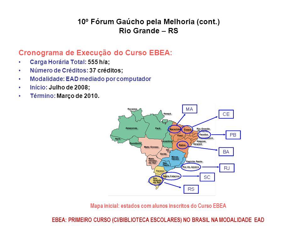 Mapa inicial: estados com alunos inscritos do Curso EBEA