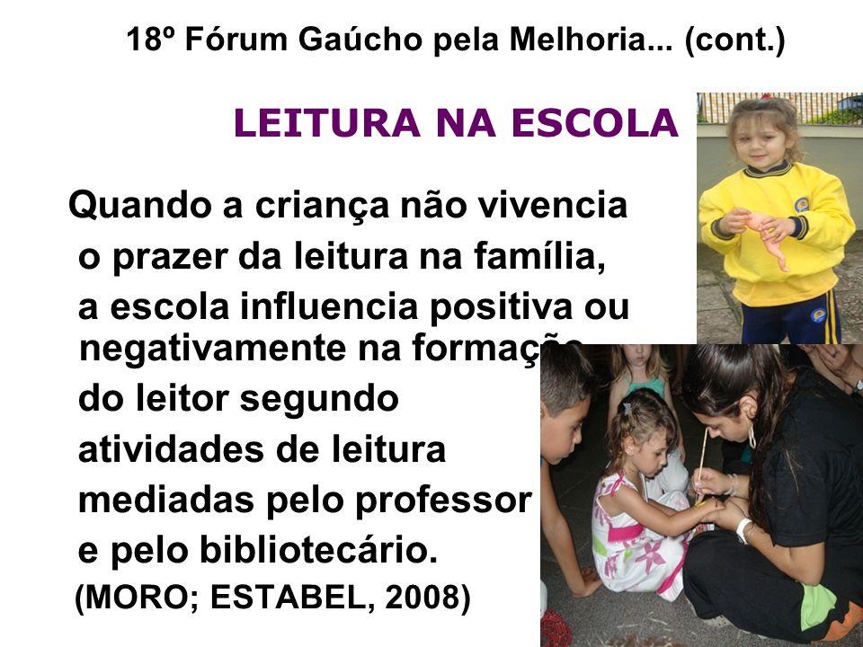 18º Fórum Gaúcho pela Melhoria... (cont.) LEITURA NA ESCOLA