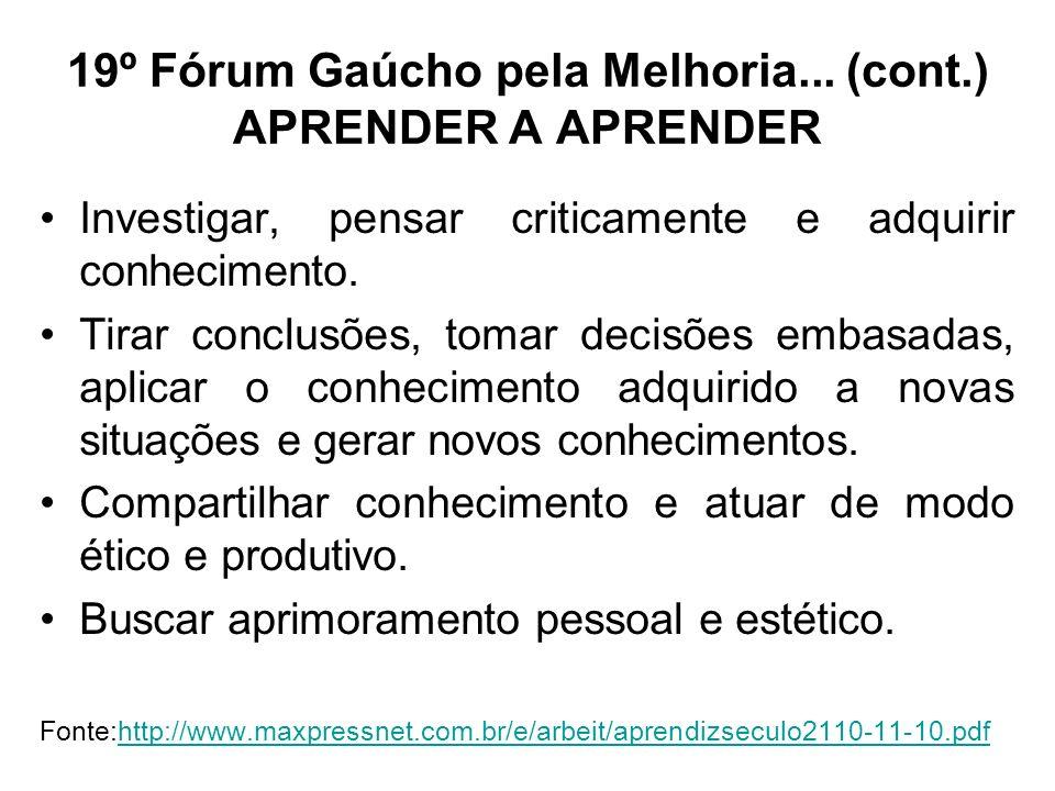 19º Fórum Gaúcho pela Melhoria... (cont.) APRENDER A APRENDER