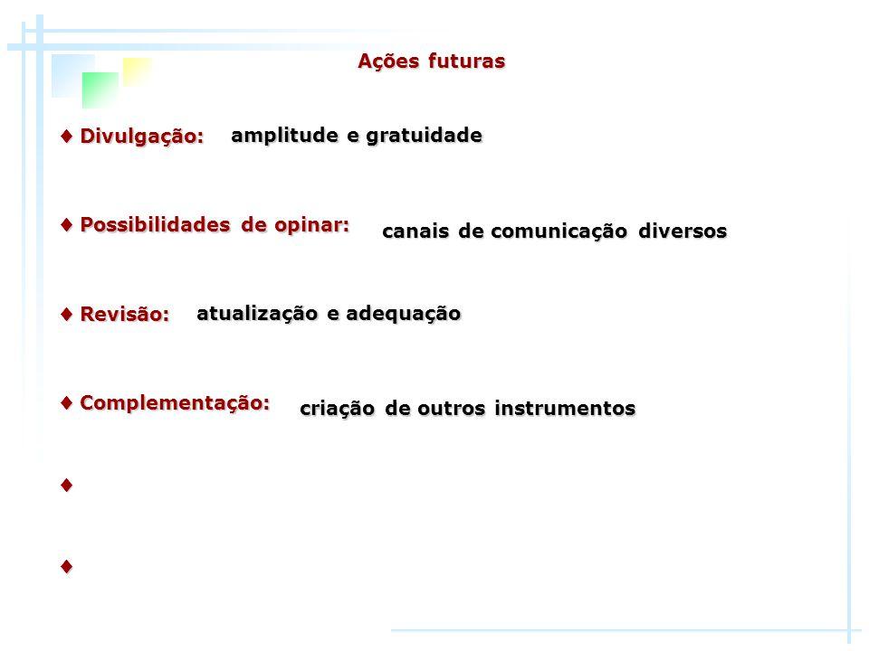 Ações futuras♦ Divulgação: amplitude e gratuidade. ♦ Possibilidades de opinar: canais de comunicação diversos.
