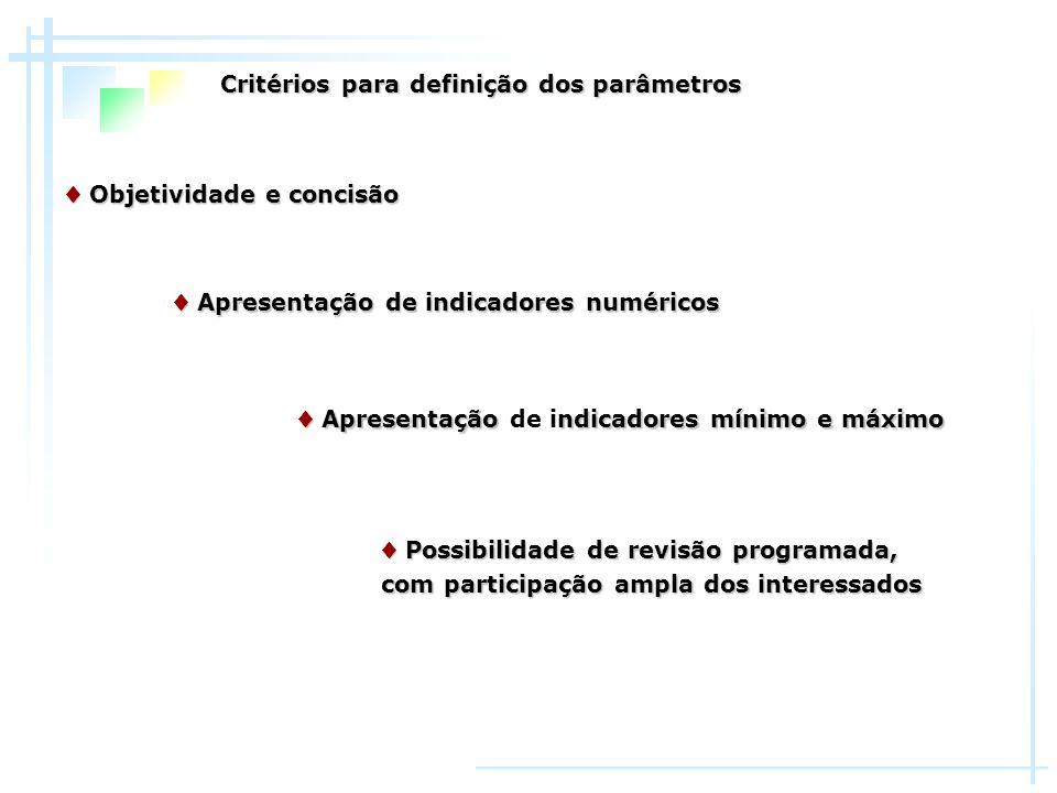 Critérios para definição dos parâmetros