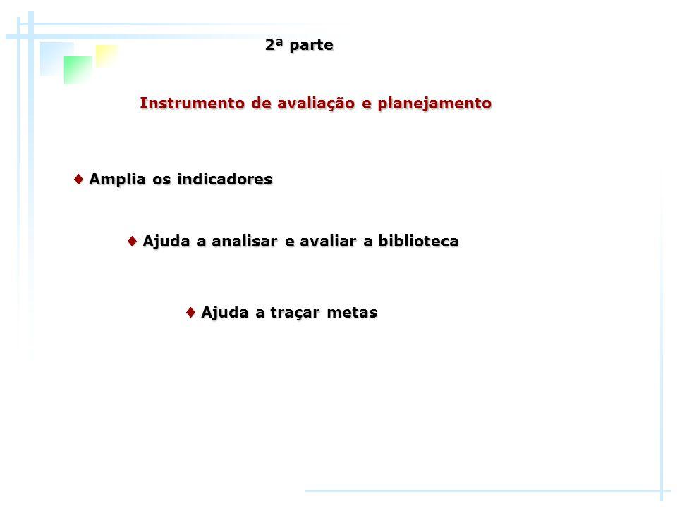 2ª parte Instrumento de avaliação e planejamento. ♦ Amplia os indicadores. ♦ Ajuda a analisar e avaliar a biblioteca.
