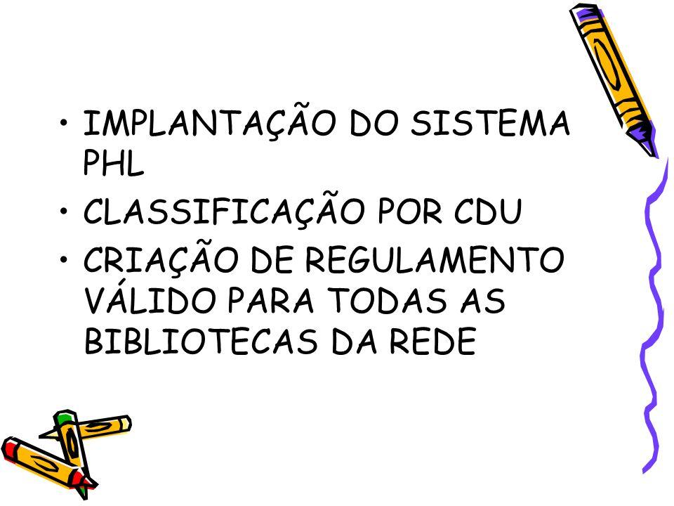 IMPLANTAÇÃO DO SISTEMA PHL