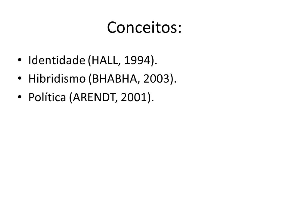 Conceitos: Identidade (HALL, 1994). Hibridismo (BHABHA, 2003).