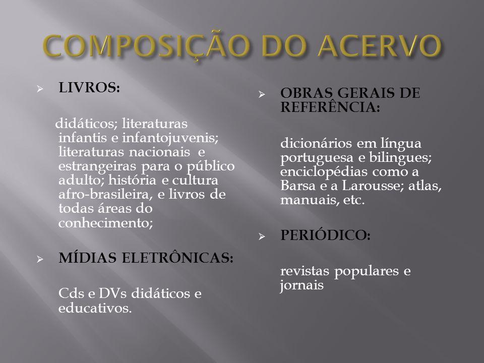 COMPOSIÇÃO DO ACERVO LIVROS: OBRAS GERAIS DE REFERÊNCIA: