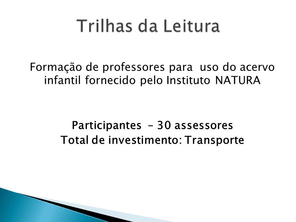 Participantes – 30 assessores Total de investimento: Transporte