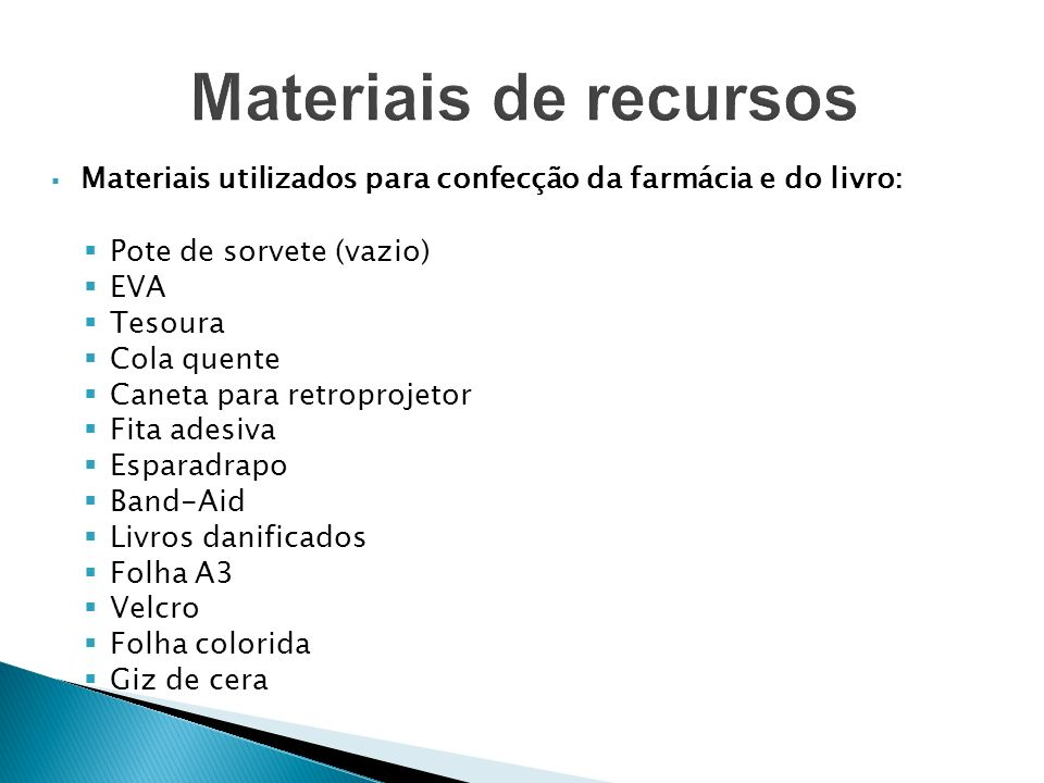 Materiais de recursos Materiais utilizados para confecção da farmácia e do livro: Pote de sorvete (vazio)