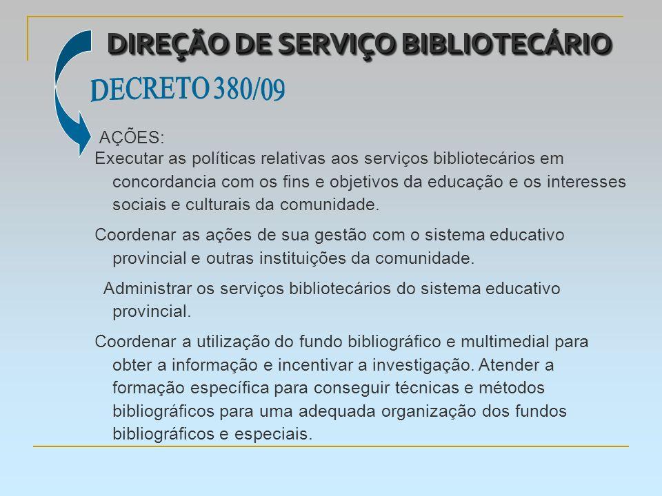DIREÇÃO DE SERVIÇO BIBLIOTECÁRIO