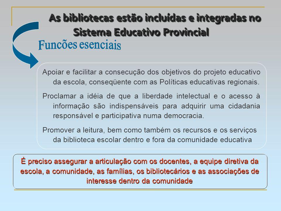 As bibliotecas estão incluídas e integradas no Sistema Educativo Provincial