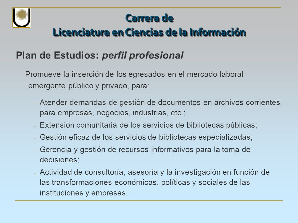Plan de Estudios: perfil profesional