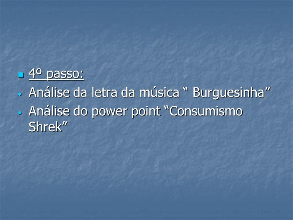 4º passo: Análise da letra da música Burguesinha Análise do power point Consumismo Shrek