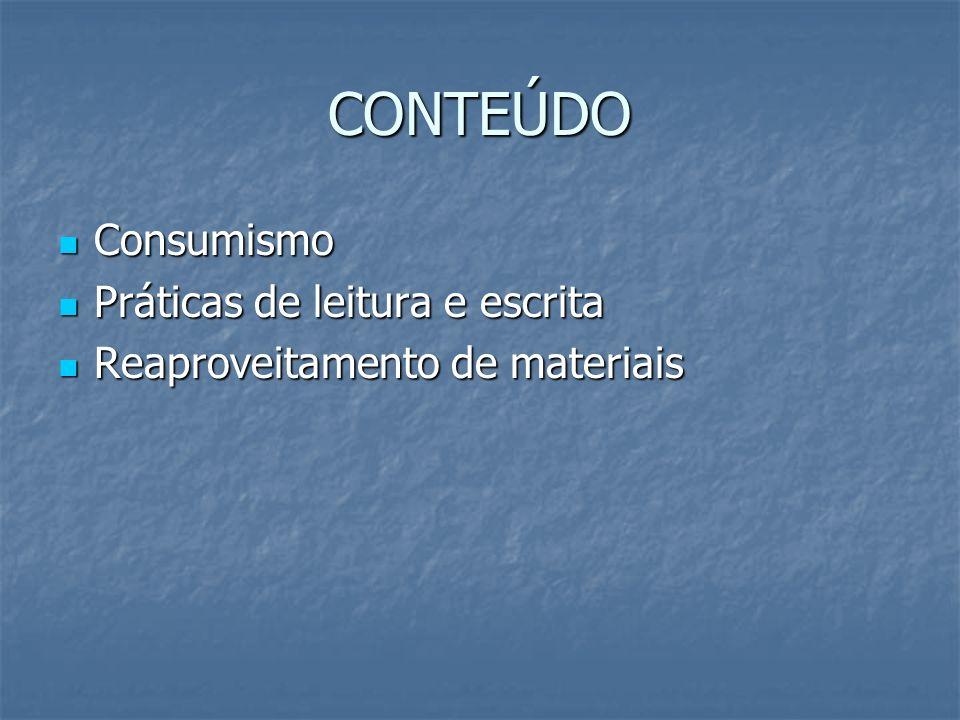 CONTEÚDO Consumismo Práticas de leitura e escrita